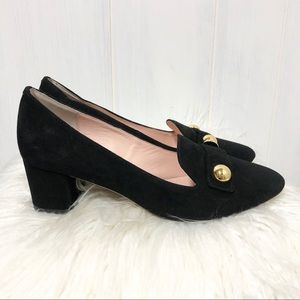 Kate Spade Black Leather Heeled Loafers 7M